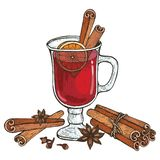 Glass of Mulled wine and spices cinnamon, cloves, badyan, orange. royalty free illustration