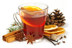 Glass of mulled wine and spices Stock Image