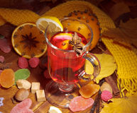 Glass of mulled wine in spot light Royalty Free Stock Images