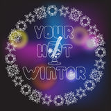 Glass of mulled wine and text Your Hot Winter Royalty Free Stock Images