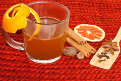 Glass of mulled wine on woven Stock Photo