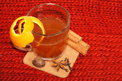Glass of mulled wine on woven Royalty Free Stock Image