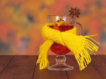 Glass of mulled wine in yellow scarf Stock Images