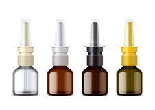 Glass Nasal Spray packing for drops. Variant with a non-opening lid. Small bottle. Royalty Free Stock Photo