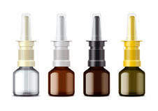 Glass Nasal Spray packing for drops. Variant with opening lid. Small bottle. Royalty Free Stock Photos