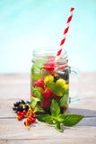 Glass of natural berry lemonade stock photography