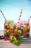 Glass of natural berry lemonade royalty free stock image