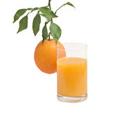Glass of natural orange juice and orange Royalty Free Stock Photo