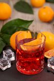 Negroni Cocktail with orange and ice royalty free stock photography