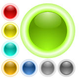 Glass neon glow buttons Stock Photos