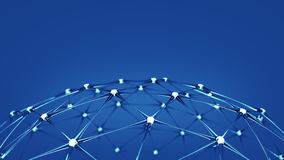 Glass network structure 3D render Royalty Free Stock Photo