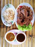 Glass noodle meal with spicy and Thailand herb. Duck meal with spicy and Thailand herb Famous Cuisine of Eastern Thailand royalty free stock image