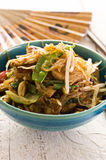 Glass Noodles with Beef Stir-Fried. As closeup in a traditional bowl Stock Images