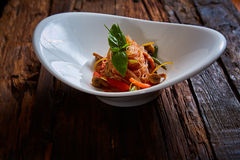 Glass noodles with mushrooms and vegetables. Stock Photos