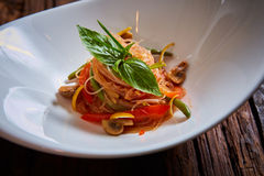 Glass noodles with mushrooms and vegetables. Stock Photography