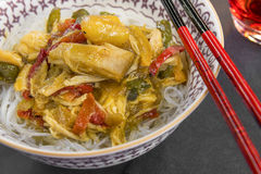 Glass noodles with vegetables and chicken. Glass noodles served with vegetables, mango chutney and chicken Stock Photo