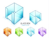 Glass note paper containers. Vector icon set Stock Images