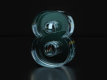 Glass number eight Royalty Free Stock Image