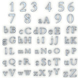 Glass numbers and alphabet Stock Image