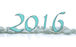 2016, glass numbers on white stones Royalty Free Stock Photo