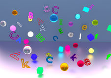 Glass objects and letters floating. Glass and plastic glowing objects containing letters, spheres and cubes, floating through the air, over a white/blue Royalty Free Stock Photography