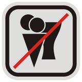 Glass- och bägare-, förbud- på att äta mat, vektorsymbols-, grå färg- och svartram royaltyfri illustrationer