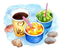 Glass och coffe, sorbet på stranden på blå vattenfärgbakgrund royaltyfri illustrationer