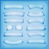 Glass is och Crystal Banners för tecknad film Royaltyfria Bilder