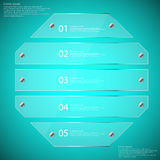 Glass octagon divided to five parts infographic template on blue Stock Photography