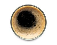 Free Glass Of Dark Stout Beer Top View With Foam. Isolated On White Background. With Clipping Path Royalty Free Stock Images - 156355969