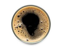 Free Glass Of Dark Stout Beer Top View With Foam.  On White Background. With Clipping Path Royalty Free Stock Image - 154659276