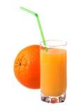 Glass Of Fresh Orange Juice With Ripe Orange Royalty Free Stock Photo