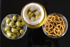Free Glass Of Light Beer On Black Reflective Background Royalty Free Stock Photos - 58764758