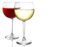 Free Glass Of Red Wine And White Wine With Space For Text Royalty Free Stock Image - 32306966