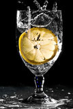 Glass Of Water With Lemon Stock Photos