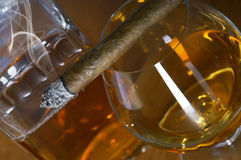 Glass Of Whisky With Cigar Royalty Free Stock Image