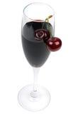 Glass Of Wine And Fresh Cherries Stock Image