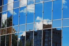 Glass office building reflection sky cloud Stock Photos
