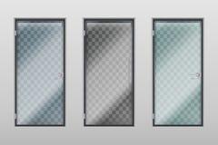 Glass office doors. Modern interior transparent door with handle and lock. Vector set vector illustration
