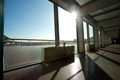 Glass office windows building interior corridor. Sunny on modern glass office windows building interior corridor stock image