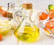 Glass oil with olive oil Stock Photography