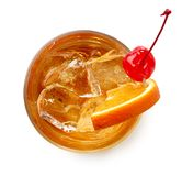 Glass of Old fashioned cocktail Stock Images
