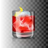 Glass of old-fashioned cocktail on the transparent background. Vector illustration of an alcoholic drink. Hard beverage in a tumbler-like glass royalty free illustration