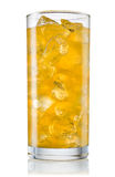 Glass of orange carbonated lemonade fanta. With clipping path Royalty Free Stock Image