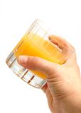 A glass with orange juice stock photo