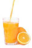 Glass of orange juice. Fresh orange juice - studio shot  on white Royalty Free Stock Photo