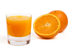 Glass of orange juice. And fruit, isolated Royalty Free Stock Photos
