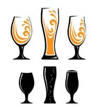 Glass of orange juice and black silhouettes stock illustration
