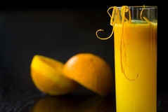 Glass of orange juice and fresh fruits Royalty Free Stock Photos