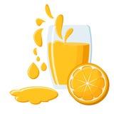 Glass of orange juice. Glass of fresh natural orange juice with juice splashes and half of an orange fruit isolated on white background. Vector illustration in Royalty Free Stock Image
